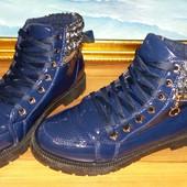 Женские теплые зимние ботинки синие лак