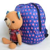 Детский рюкзак с плюшевой игрушкой мишкой