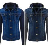 Мужская джинсовая куртка с капюшоном