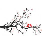Виниловые наклейки на стену, интерьерные наклейки, наклейка дерево с птичками