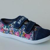 Кеды для девочек Litto джинс-цветы