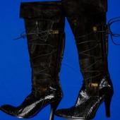Роскошные полностью кожаные сапоги-ботфорты, р.37-38