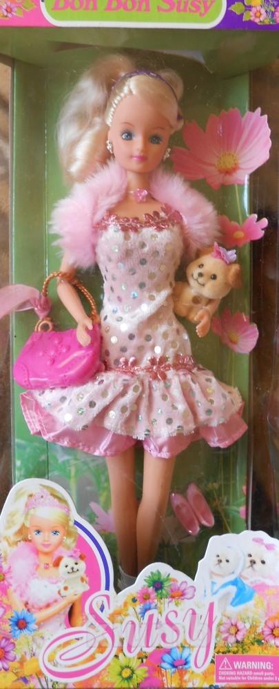 Кукла в коктельном платье с собачкой фото №1