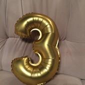 Надувная  из золотистой фольги Цыферка 3 на день рождения