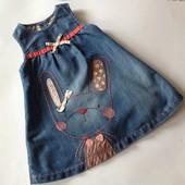 красивенное джинсовое платье с оборками Некст