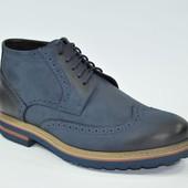 Демисезонные мужские кожаные ботинки (утепленные)