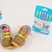 Силиконовые шнурки M-tie неоновые детские шнурочки для обуви 6 цветов в упаковке