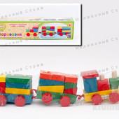 Деревянный паровозик каталка с геометрикой, консруктор городок, поезд