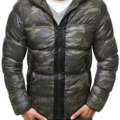 Мужская зимняя стёганая куртка с капюшоном принт камуфляж