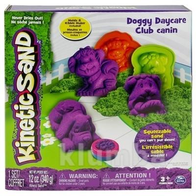 Песок для детского творчества - kinetic sand doggy (фиолетовый, зеленый, формочки, 340г) фото №1