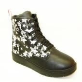 Ботинки зимние черные звезды С516