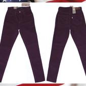 Женские вельветовые джинсы Levi s левис skinny из США 26x32 р бордовые