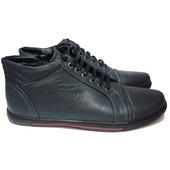 Зимние мужские ботинки серого цвета на шнуровке