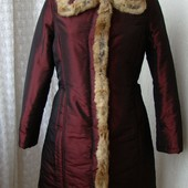 Пуховик женский на синтепоне куртка теплая мех кролик бренд Miss Mimi р.46 №4448