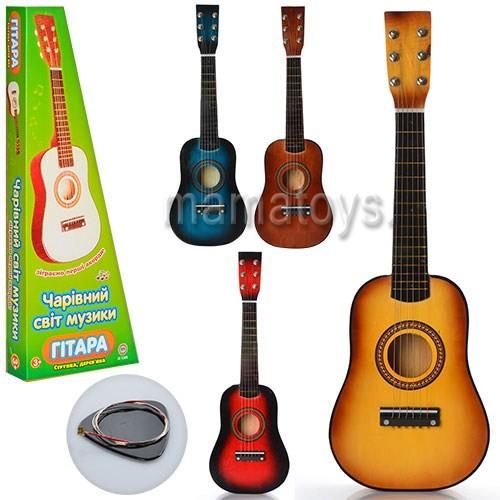 Детская деревянная гитара со струнами фото №1