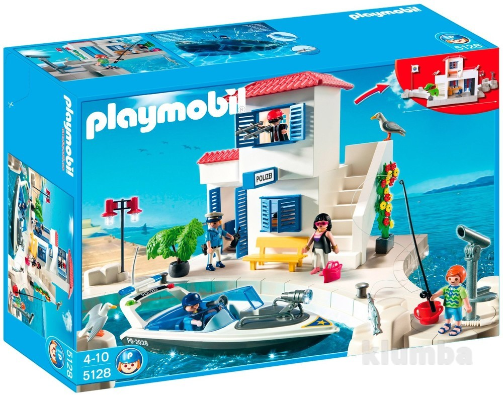 Playmobil 5128 полицейский участок harbor police station with speedboat фото №1