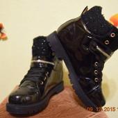 Лаковые женские зимние ботинки.