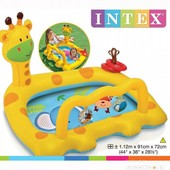 Детский бассейн с игрушками Весёлый жираф Intex