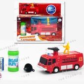 Музыкальная пожарная машинка, ездит, пускает мыльные пузыри, звук и свет сирены