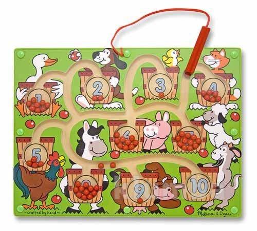 Развивающие игрушки из дерева, магнитный лабиринт из дерева «яблочки в корзине» фото №1