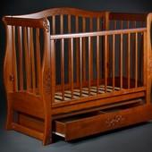 Детская кроватка диван «VIVA Glamour» орех