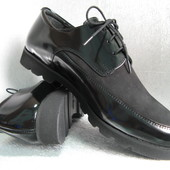 Туфли кожаные лакированные чёрные женские 40р. ТМ