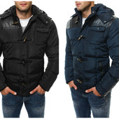 Мужская стильная зимняя куртка декор эко-кожа