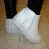 Ботинки белые бахрома Д430 р.36,37,38,39,40,41