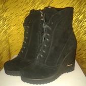 Женские ботиночки на платформе в коже и замше