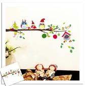 """Интерьерная наклейка """"Новогодние совушки"""". Виниловые наклейки на стену. Декор интерьера"""
