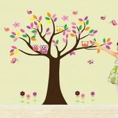 """Интерьерная наклейка """"Дерево с совушками"""". Виниловые наклейки на стену. Декор интерьера"""