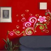 """Интерьерная наклейка """"Сердце-цветы"""". Виниловые наклейки на стену. Декор интерьера"""