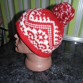 Зимняя  шапка с орнаментом - 59 размер - xl - Италия!!!