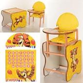 Виваст МК 110 стульчик для кормления деревянный трансформер Vivast с азбукой