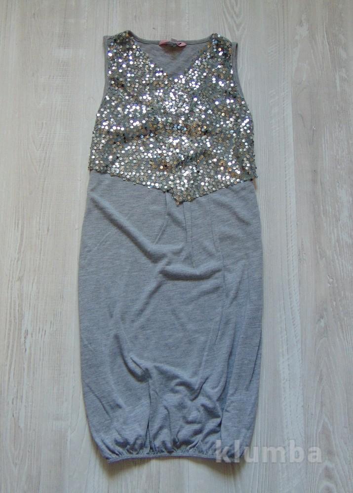 Стильное платьице с имитацией нарядной жилеточки в пайетках для девочки.  YD. Размер 11- df1819b121ce7