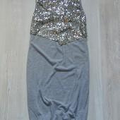 Стильное платьице с имитацией нарядной жилеточки в пайетках для девочки. YD. Размер 11-12 лет.