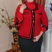 Женский свитер пиджак красного цвета с черной окантовкой