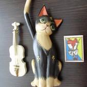 Кошка, скрипка, декор, дерево, б\\у