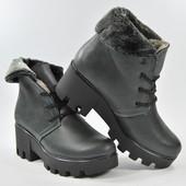 Зимние кожаные ботинки, натуральный мех