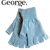 Митенки (перчатки без пальцев) голубые с люрексом для подростков, бренд «George» (Англия)