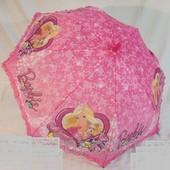 Детский зонт полуавтомат Барби с короной на 5-7 лет. Трость