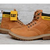 Ботинки кожаные CAT Caterpillar brown мужские зимние на меху