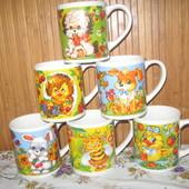 Набор детских фарфоровых чашек Зверята (6 штук, 235мл)