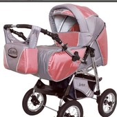 Новая универсальная коляска-трансформер Viki Lux V18 серый+розовый