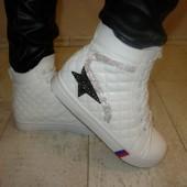Ботинки женские белые стеганые Д435 р.36,37,38,39,40,41