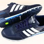 Кроссовки мужские кожаные черные и синие Adidas р. 42