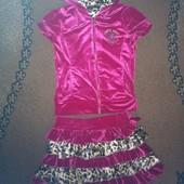 Велюровый костюм юбка-шорты