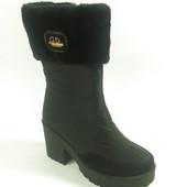 Женские сапоги дутики на каблуке короткие р.38,41