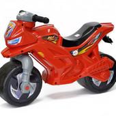Мотоцикл беговел пластиковый велобег толкатель красный Орион 501