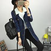 Куртка женская джинсовая на утеплителе, длинная! Хит и тренд 2016 года